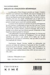 Bergson Ou L'Imagination Metaphysique - 4ème de couverture - Format classique