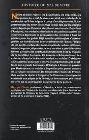 Histoire Du Mal De Vivre - 4ème de couverture - Format classique
