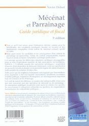 Mecenat et parrainage. juridique, fiscal et comptable - 3e ed. (3e édition) - 4ème de couverture - Format classique
