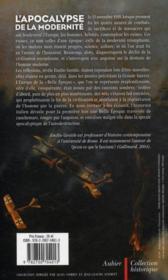 L'apocalypse de la modernité ; la Grande guerre et l'homme nouveau - 4ème de couverture - Format classique