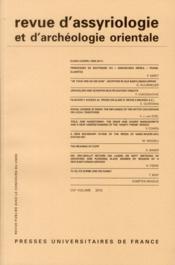 Revue D'Assyriologie Et D'Archeologie Orientale N.104 - Couverture - Format classique