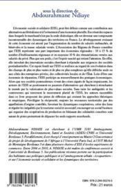 Économie sociale et solidaire : animation et dynamiques des territoires - 4ème de couverture - Format classique