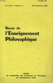 REVUE DE L'ENSEIGNEMENT PHILOSOPHIQUE, 33e ANNEE, N° 6, AOUT-SEPT. 1983 - Couverture - Format classique