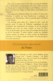 Dictionnaire amoureux ; du piano - 4ème de couverture - Format classique
