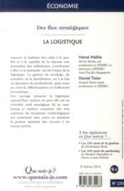 La logistique (8e édition) - 4ème de couverture - Format classique