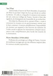 Sur l'Etat ; cours au Collège de France (1989-1992) - 4ème de couverture - Format classique