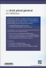 Le droit penal general en fiches et en tableaux - 4ème de couverture - Format classique