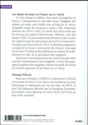 Les hauts revenus en France au XXe siècle ; inégalites et redistributions (1901-1998) - 4ème de couverture - Format classique
