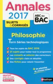 Annales ABC du bac ; sujets & corrigés T.22 ; philosophie ; STMG - Couverture - Format classique