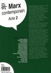 Marx contemporain t.2 - 4ème de couverture - Format classique