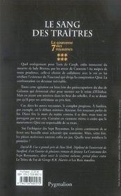 La couronne des sept royaumes t 6 ; le sang des traîtres - 4ème de couverture - Format classique