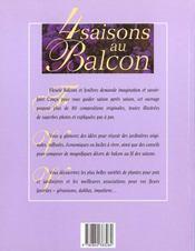 Quatre Saisons Au Balcon - 4ème de couverture - Format classique