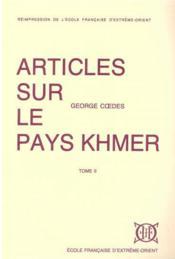 Articles sur le pays khmer t.2 - Couverture - Format classique