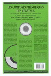 Les composes phenoliques des vegetaux un exemple de metabolites secondai - 4ème de couverture - Format classique