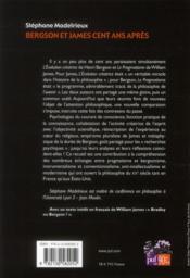 Bergson et James, cent ans après - 4ème de couverture - Format classique