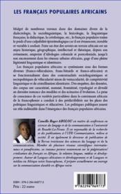 Francais Populaires Africains - 4ème de couverture - Format classique