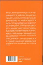 Finkielkraut, la pensée défaite - 4ème de couverture - Format classique