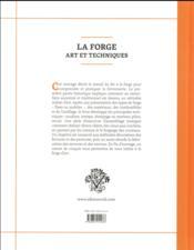 La forge ; art et techniques - 4ème de couverture - Format classique