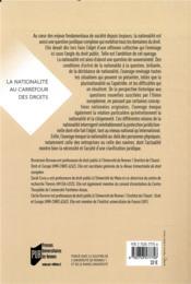 La nationalité au carrefour des droits - 4ème de couverture - Format classique