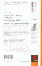 Vendre Aux Clients Difficiles ; Les Cles De La Persuasion - 4ème de couverture - Format classique