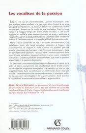 Les vocalises de la passion ; psychanlyse de l'opéra - 4ème de couverture - Format classique