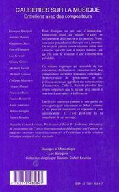 Causeries sur la musique ; entretien avec des compositeurs - 4ème de couverture - Format classique