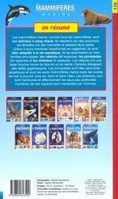 Les mammifères marins - 4ème de couverture - Format classique