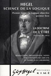 La doctrine de l'être ; 1832 - Intérieur - Format classique