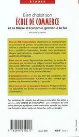 Bien Choisir Son Ecole De Commerce Et Sa Filiere D'Economie ; Gestion A La Fac ; Edition 2001 - 4ème de couverture - Format classique