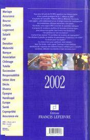 Vos droits votre argent ; edition 2002 - 4ème de couverture - Format classique