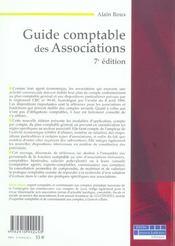 Guide comptable des associations (7e édition) - 4ème de couverture - Format classique