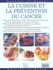 Cuisine et prevention du cancer - 4ème de couverture - Format classique