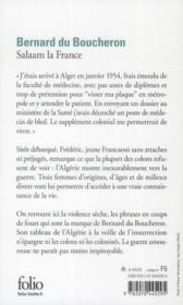 Salaam la France - 4ème de couverture - Format classique