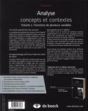 Analyse concepts et contextes volume 2 - 4ème de couverture - Format classique