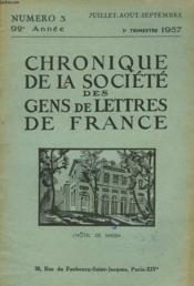 CHRONIQUE DE LA SOCIETE DES GENS DE LETTRES DE FRANCE N°3, 92e ANNEE ( 3e TRIMESTRE 1957) - Couverture - Format classique