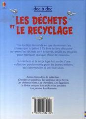 Les déchets et le recyclage - 4ème de couverture - Format classique