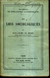 Les Lois Sociologiques . - Couverture - Format classique