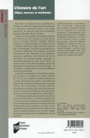 L'histoire de l'art ; objet, sources et méthodes - 4ème de couverture - Format classique