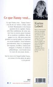 Ce que Fanny veut... - 4ème de couverture - Format classique