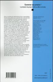 Gouverner sous pression ? la participation des groupes d'intérêt aux affaires territoriales - 4ème de couverture - Format classique