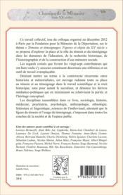 Témoins et témoignages ; figures et objets dans l'histoire du XXe siècle - Couverture - Format classique