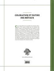 Coloration et patine des métaux - 4ème de couverture - Format classique