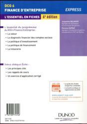 DCG 6 - finance d'entreprise ; l'essentiel en fiches (6e édition) - 4ème de couverture - Format classique