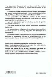La Dissertation Economique 20 Plans Detailles Pour Reussir Concours Administratifs Categorie A - 4ème de couverture - Format classique