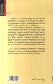 Initiation à la théologie mariale - 4ème de couverture - Format classique