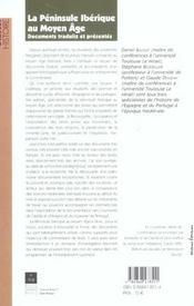 La péninsule ibérique au Moyen Age ; documents traduits et présentés - 4ème de couverture - Format classique