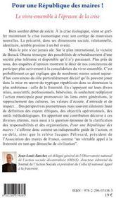 Pour une république des maires ! ; le vivre-ensemble à l'épreuve de la crise - 4ème de couverture - Format classique