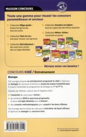ENTRAINEMENT ; concours kiné ; biologie ; QCM et exos (3e édition) - 4ème de couverture - Format classique