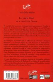 Le code noir ou le calvaire de Canaan (5e édition) - 4ème de couverture - Format classique