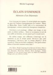 Éclats d'enfance ; mémoire d'un Dijonnais - 4ème de couverture - Format classique